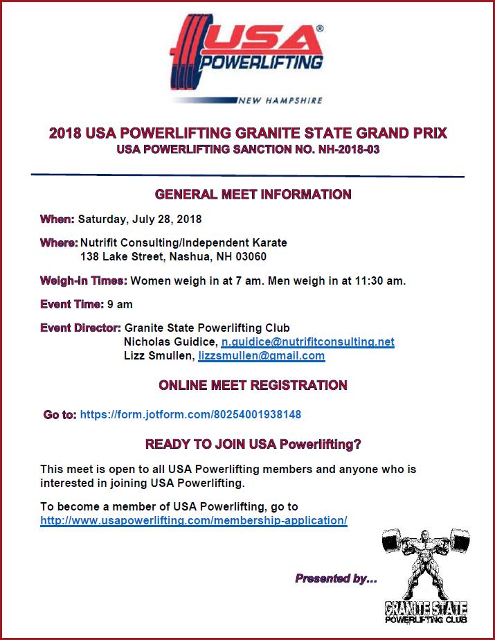 2018 USAPL Granite State Grand Prix Poster 040718
